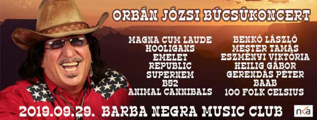 ORBÁN JÓZSI BÚCSÚKONCERT Barba Negra